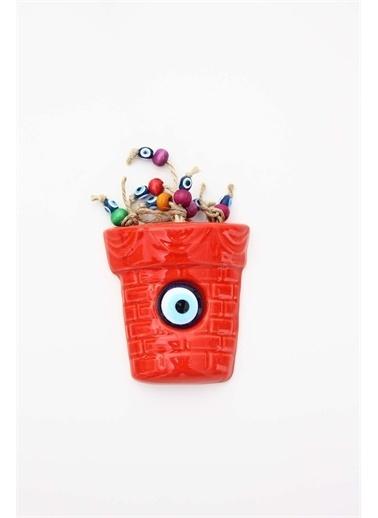 Raven Home Studio Rhs Dekoratif Saksı Duvar Dekortif Ürünleri Kırmızı Küçük Boy Renkli